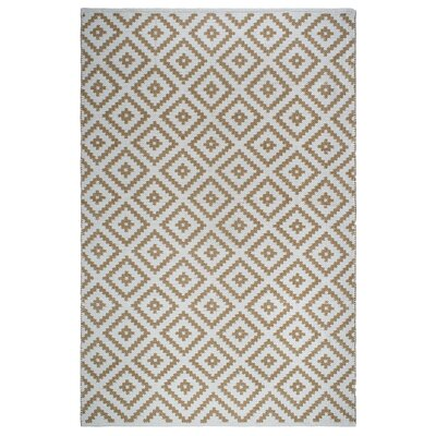 Markowski Hand-Woven Almond/White Indoor/Outdoor Area Rug Rug Size: 5 x 8