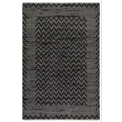 Zen Allure Hand-Woven Black/Cream Area Rug Rug Size: 4 x 6