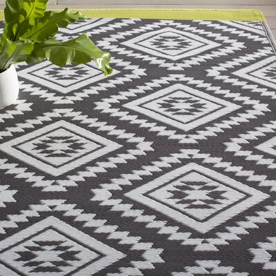 World Collection Black Indoor/Outdoor Area Rug Rug Size: 6 x 9