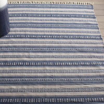 Estate Hand-Woven Blue/White Indoor/Outdoor Area Rug Rug Size: 5 x 8