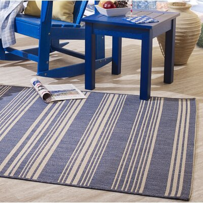 Wrington Stripe Blue Indoor/Outdoor Area Rug Size: Rectangle 52 x 76