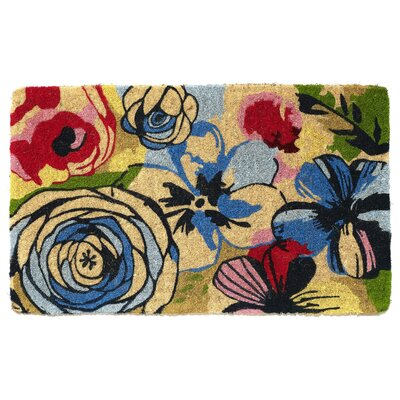 Pinkham Watercolor Floral Handwoven Doormat