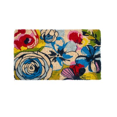Pinkley Watercolor Floral Handwoven Doormat