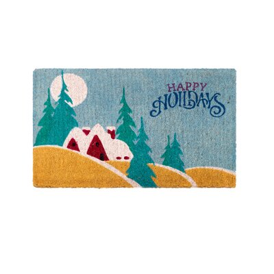 Festive Happy Holidays Handwoven Doormat