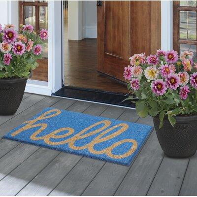 Azevedo Cursive Hello Handwoven Doormat