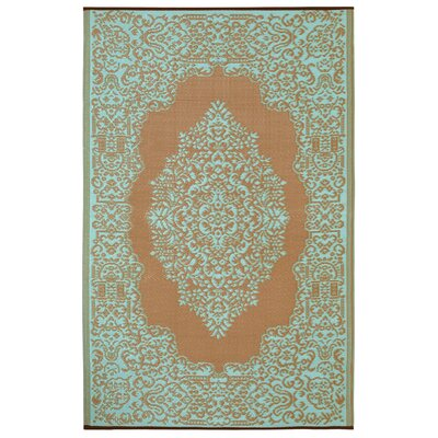 World Istanbul Fair Aqua & Warm Taupe Indoor/Outdoor Area Rug Rug Size: 5 x 8