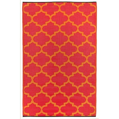 Bremond Block Orange Peel & Rouge Red World Indoor/Outdoor Area Rug Rug Size: 3 x 5