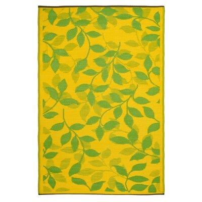 World Bali Lemon Yellow/Moss Green Indoor/Outdoor Area Rug Rug Size: 3' x 5'