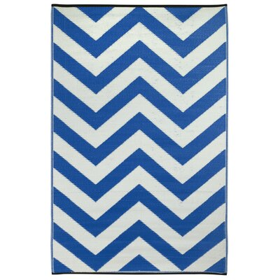 Laguna Hand Woven Blue/White Indoor/Outdoor Area Rug Rug Size: 4 x 6