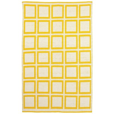Zen Hand-Woven Cotton Yellow/White Area Rug Rug Size: Rectangle 5 x 8