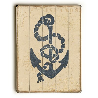 Blue Anchor with Rope Graphic Art Size: 34