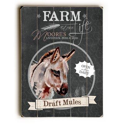 Farm Draft Mules Wooden Textual Art Size: 34