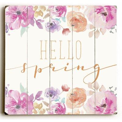 'Hello Spring' Textual Art on Wood Size: 13
