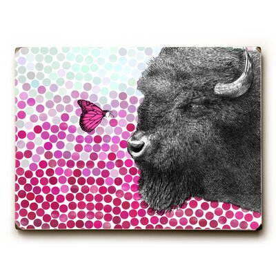 'Bison and Butterfly' Rectangle Graphic Art Print on Wood