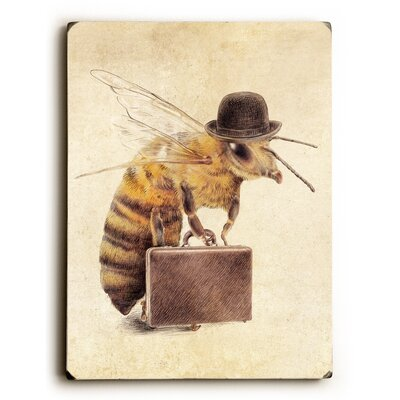 'Worker Bee' Rectangle Graphic Art Print on Wood