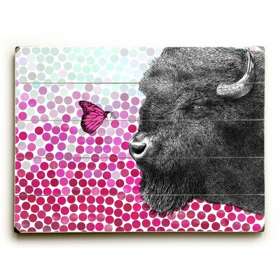 'Bison and Butterfly' Graphic Art Print on Wood Size: 12