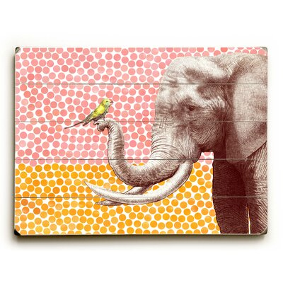 'Elephant and Bird' Graphic Art Print on Wood Size: 12