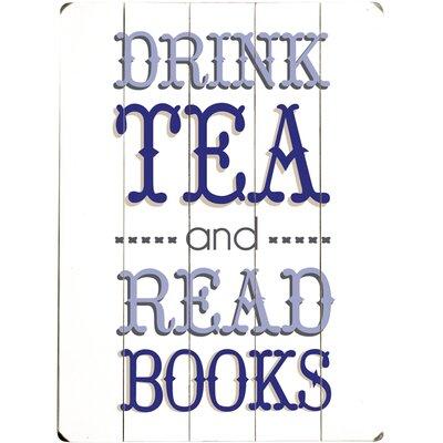 """'Drink Tea"""" Textual Art on Wood 0004-2421-38"""