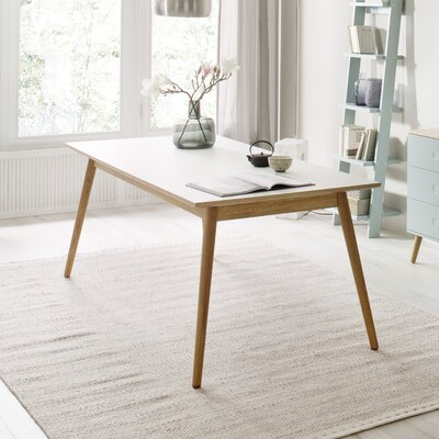 Dot Dining Table Color: White Lacquer / Oak