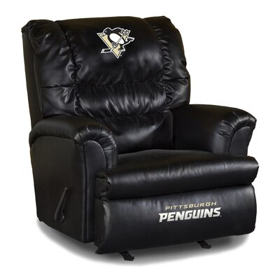 Nhl Big Daddy Leather Manual Recliner NHL Team: Pittsburgh Penguins