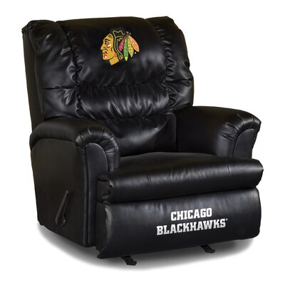 Nhl Big Daddy Leather Manual Recliner NHL Team: Chicago Blackhawks