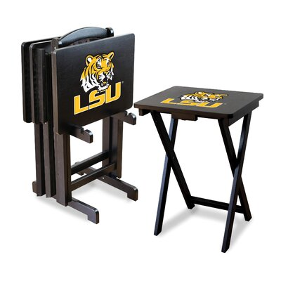 NCAA 4 Piece TV Tray Set with Stand NCAA Team: Louisiana State University
