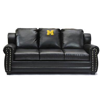 NCAA Coach Leather Sofa College Team: University of Michigan