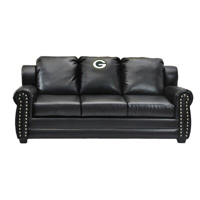 NFL Coach Leather Sofa NFL Team: Green Bay Packers