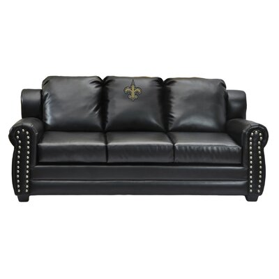NFL Coach Leather Sofa NFL Team: New Orleans Saints
