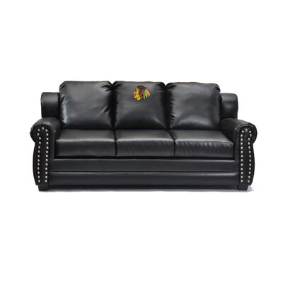 NHL Coach Leather Sofa NHL Team: Chicago Blackhawks�