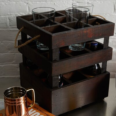 Stackable Crate 9 Bottle Tabletop Wine Rack
