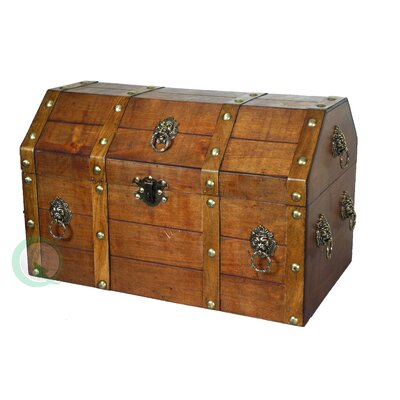 Wooden Wedding Ring on Quickway Imports Large Wooden Pirate Trunk With Lion Rings   Wayfair