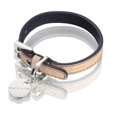 """HENNESSY & SONS Natural LV Handmade Vegetable Leather Dog Collar -Size:sm (8-10.5"""" W), Color:Natural w/ Navy Plush Lining & Navy Stitching at Sears.com"""