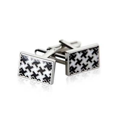 Houndstooth Cufflinks in Silver