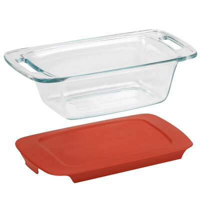 Easy Grab 1.5 Qt Loaf Dish With Red Plastic Cover