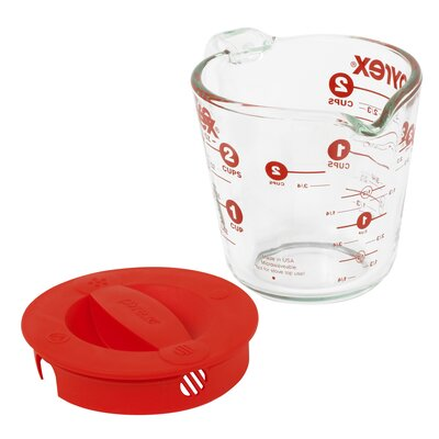 Prepware 2 Cup Measuring Cup with Red Plastic Cover in Clear 1055163