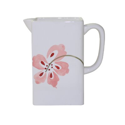 Coordinates Pretty Pink Ceramic Pitcher in Pink and White