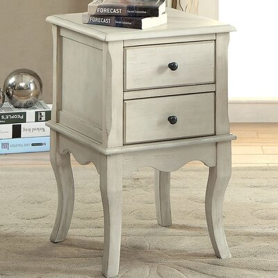 Southbury End Table with Storage Color: White