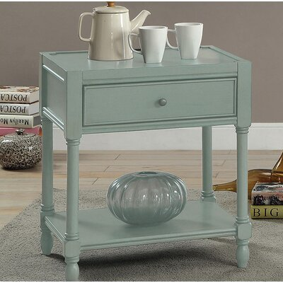 Southington End Table with Storage Color: Teal