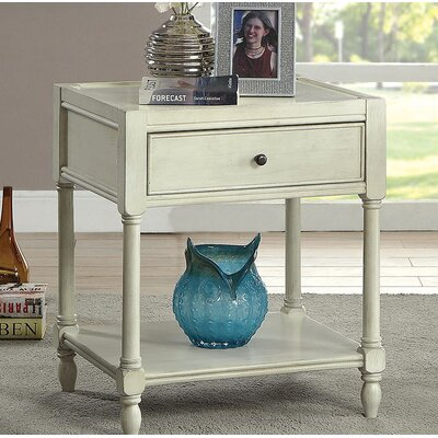 Southington End Table with Storage Color: White
