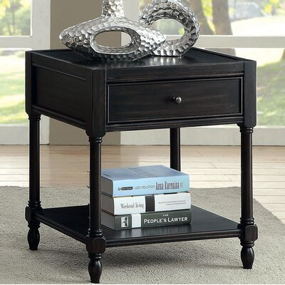Southington End Table with Storage Color: Black