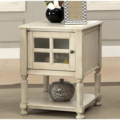 Southmont End Table with Storage Color: White