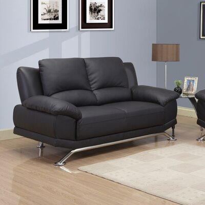 Loveseat Upholstery: Black