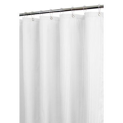 Watershed Solid Polyester Satin Stripe Shower Curtain - Color: White