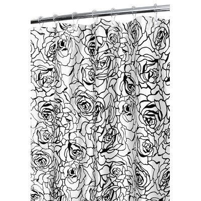 Cabbage Rose Shower Curtain Color: White/Black