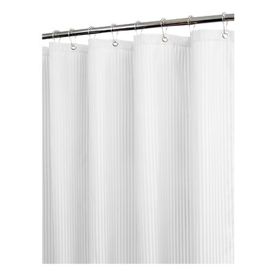 Solid Satin Stripe Shower Curtain Color: White
