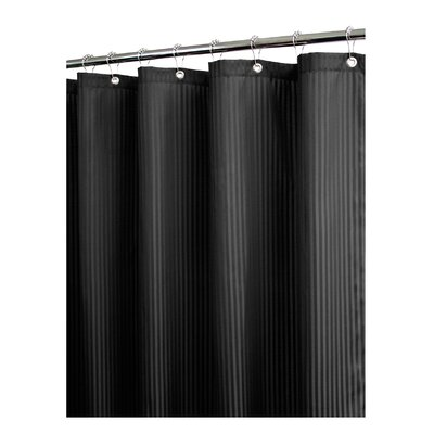 Solid Satin Stripe Shower Curtain Color: Black