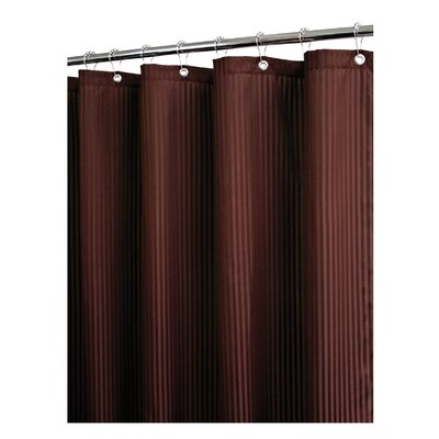 Solid Satin Stripe Shower Curtain Color: Coffeebean