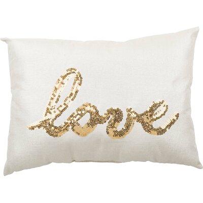 Fabric Sequin Love Lumbar Pillow