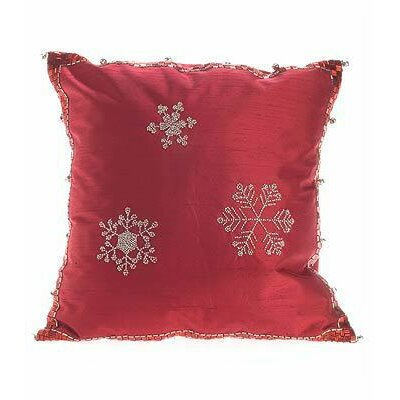 Snowflakes Silk Throw Pillow Cover Size: 20 H x 20 W x 6 D, Color: Red